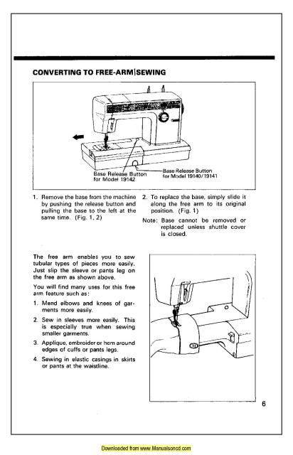 free sewing machine manual for kenmore sewing machine model 158.904