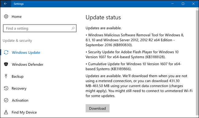 how do i download windows 10 updates manually